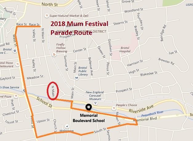 2018 Mum Parade Route